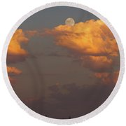 Full Moonrise Over Tree Silhouette Round Beach Towel