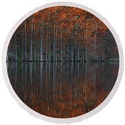 Full Of Glory - Cypress Trees In Autumn Round Beach Towel