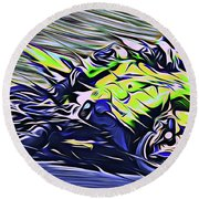 Fullspeed On Two Wheels 8 Round Beach Towel