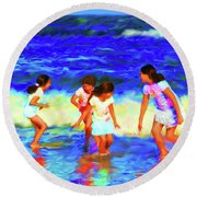 Fun At The Beach Round Beach Towel