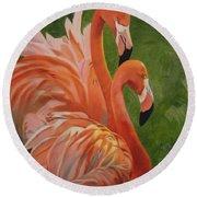 Fun Flamingos Round Beach Towel