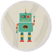Fun Retro Robot Round Beach Towel