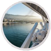 Funchal By The Ship Round Beach Towel