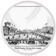 Funeral Obsequies Of President Lincoln Round Beach Towel