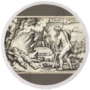 Funeral Of Hercules Round Beach Towel