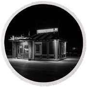 Funicular Ticket Booth At Night In Black And White Round Beach Towel