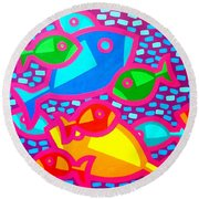 Funky Fish Round Beach Towel