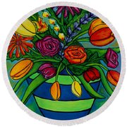 Funky Town Bouquet Round Beach Towel