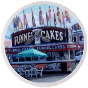 Funnel Cakes Round Beach Towel