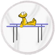 Funny Athlete Doing His Routine On The Parallel Bars Round Beach Towel