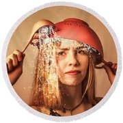 Funny Creative Cooking Pinup Girl Round Beach Towel