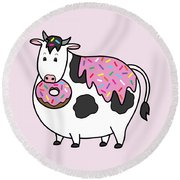 Funny Fat Holstein Cow Sprinkle Doughnut Round Beach Towel