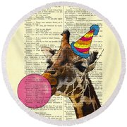 Funny Giraffe, Dictionary Art Round Beach Towel