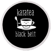 Funny Karate Design Karatea Black Belt White Light Round Beach Towel