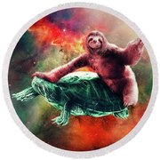 Funny Space Sloth Riding On Turtle Round Beach Towel