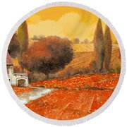 fuoco di Toscana Round Beach Towel by Guido Borelli