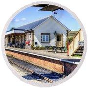Furnace Sidings Railway Station Round Beach Towel