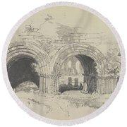 Furness Abbey East  29 August 1836 By Edward Lear  1836 Round Beach Towel