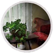 Furniture - Plant - Ivy In A Window  Round Beach Towel by Mike Savad