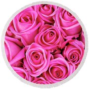 Fuschia Colored Roses Round Beach Towel