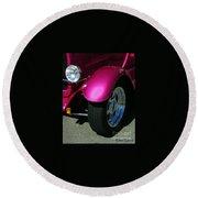 Fuschia Hot Rod Wheel  Round Beach Towel