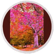 Fuschia Tree Round Beach Towel