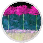 Fuschia Trees Round Beach Towel