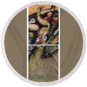 Fusion II - Diptych Round Beach Towel