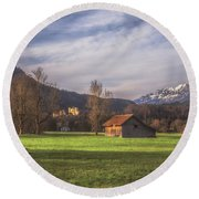 Fussen Mountain Scene Round Beach Towel