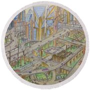 Future City After 50 Years Round Beach Towel