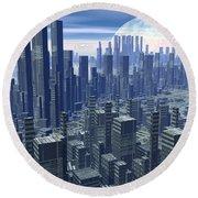 Futuristic City - 3d Render Round Beach Towel