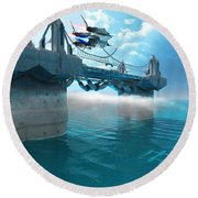 Futuristic Skyway Round Beach Towel
