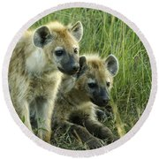 Fuzzy Baby Hyenas Round Beach Towel