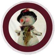 Fuzzy The Snowman Round Beach Towel