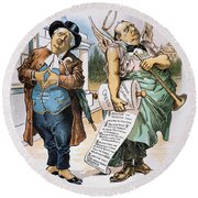 G. Cleveland Cartoon, 1892 Round Beach Towel