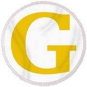 G In Mustard Typewriter Style Round Beach Towel