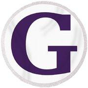 G In Purple Typewriter Style Round Beach Towel