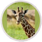 G Is For Giraffe Round Beach Towel