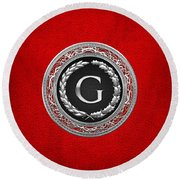 G - Silver Vintage Monogram On Red Leather Round Beach Towel