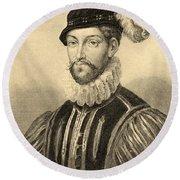 Gabriel De Lorges, Comte De Montgomery Round Beach Towel