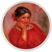 Gabrielle In A Red Blouse 1896 Round Beach Towel