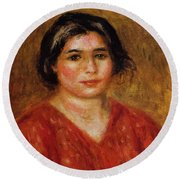 Gabrielle In A Red Blouse 1913 Round Beach Towel