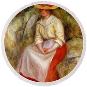 Gabrielle In A Straw Hat 1900 Round Beach Towel