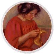 Gabrielle Mending 1908 Round Beach Towel