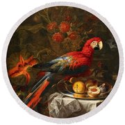 Gabriello Salci  Fruit Still Life With A Parrot Round Beach Towel