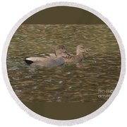 Gadwall Pair Round Beach Towel