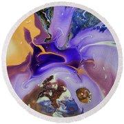 Galactic Portal. Abstract Fluid Acrylic Pour Round Beach Towel