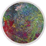 Galactic Spring_by Aatmica Round Beach Towel