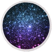 Galaxy Stars Teal Violet Pink Round Beach Towel