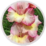 Glad To Be Pink And Yellow Round Beach Towel